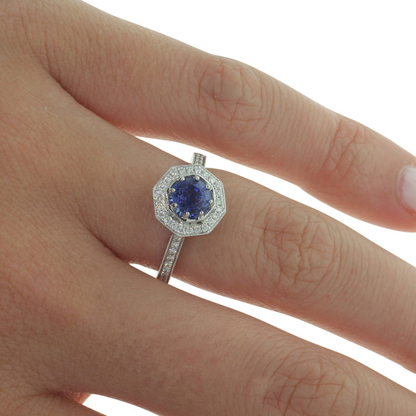 18ct White Gold 1.14ct Sapphire & Diamond Ring - Walker & Hall