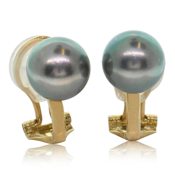 9ct Yellow Gold Black Cultured Pearl Clip On Earrings