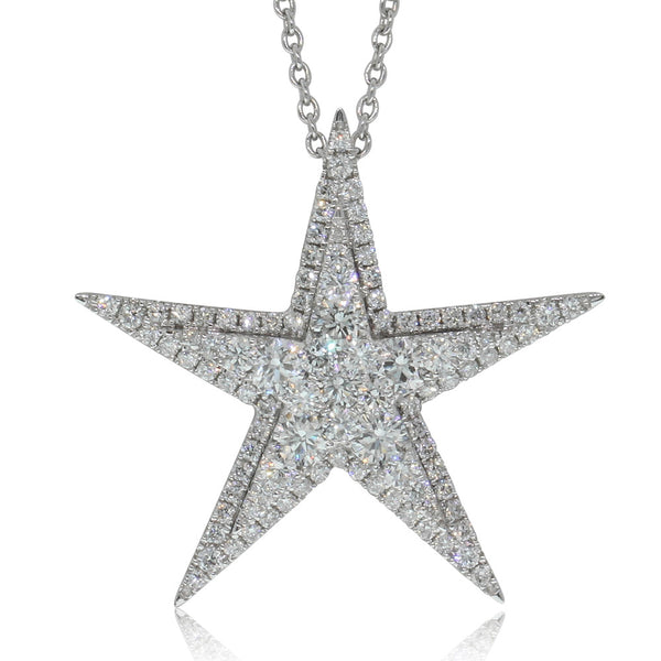 18ct White Gold 1.24ct Diamond Star Pendant