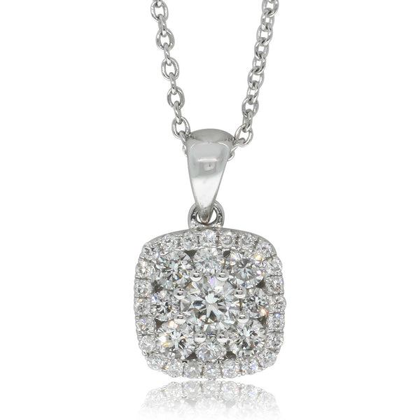 18ct White Gold .66ct Diamond Cluster Pendant - Walker & Hall