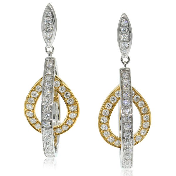 18ct White & 18ct Yellow Gold 1.08ct Diamond Earrings - Walker & Hall