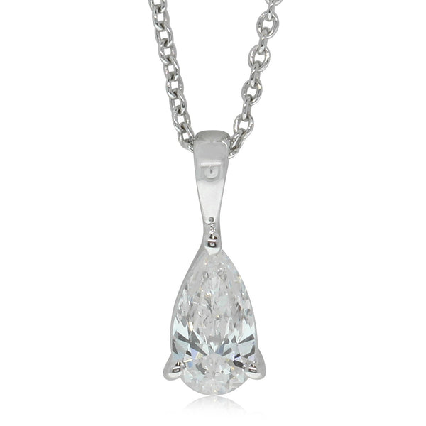 18ct White Gold Pear Cut Diamond Pendant - Walker & Hall