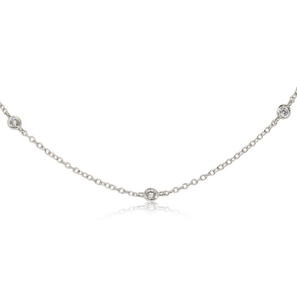 18ct White Gold Diamond Set Necklace - Walker & Hall