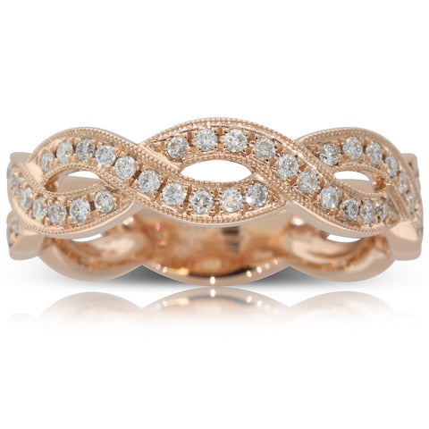 18ct Rose Gold .30ct Diamond Infinity Ring - Walker & Hall