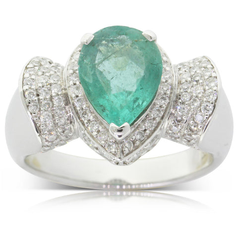 Vintage 18ct White Gold Emerald & Diamond Ring - Walker & Hall