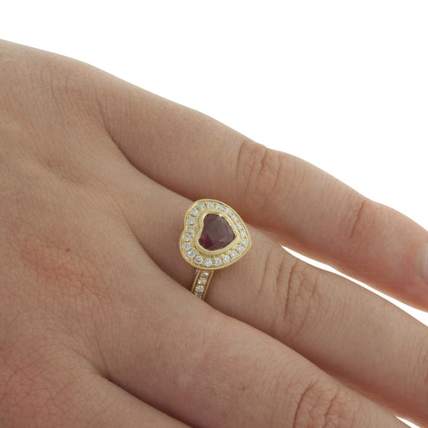 18ct Yellow Gold 1.49ct Ruby & Diamond Ring - Walker & Hall