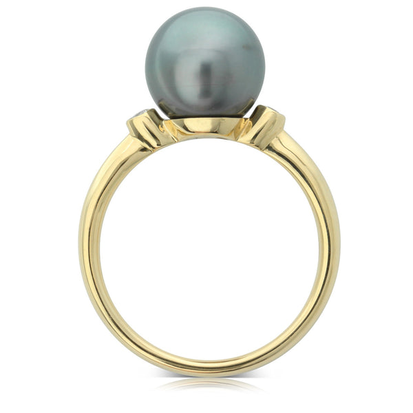 18ct Yellow Gold Cultured Black Pearl & Diamond Ring - Walker & Hall