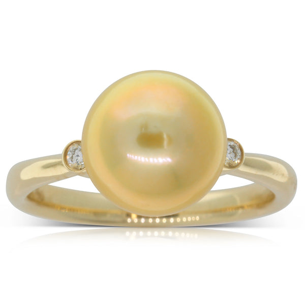 18ct Yellow Gold Cultured Golden Pearl & Diamond Ring