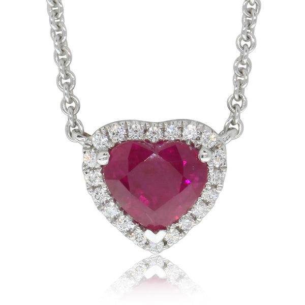 18ct White Gold 1.53ct Ruby & Diamond Pendant - Walker & Hall