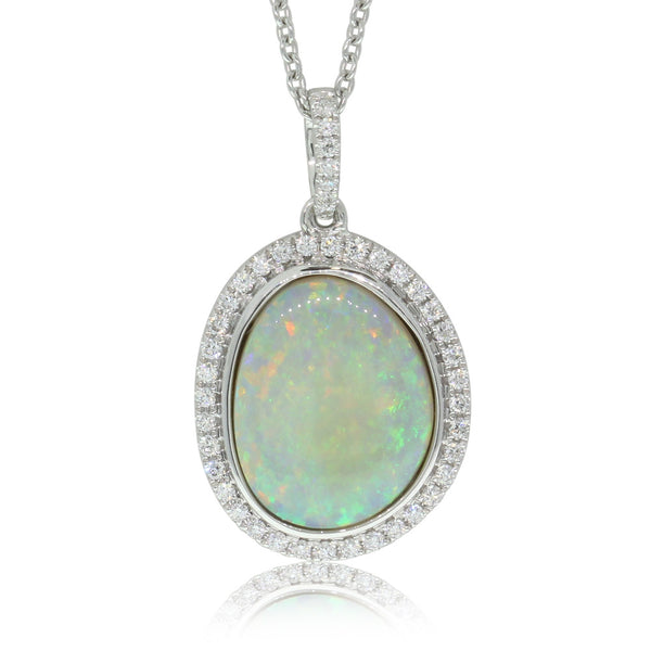 18ct White Gold 2.91ct Opal & Diamond Pendant