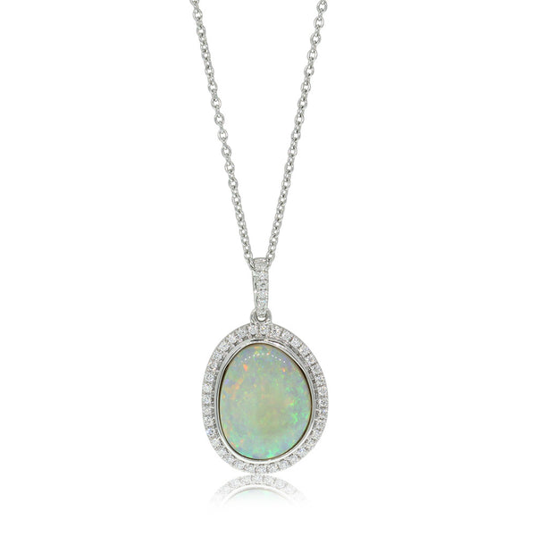 18ct White Gold 2.91ct Opal & Diamond Pendant - Walker & Hall