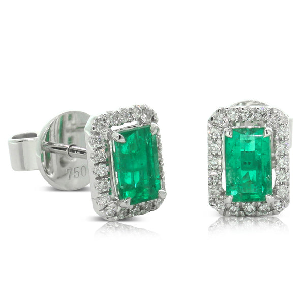 18ct White Gold Emerald & Diamond Studs - Walker & Hall