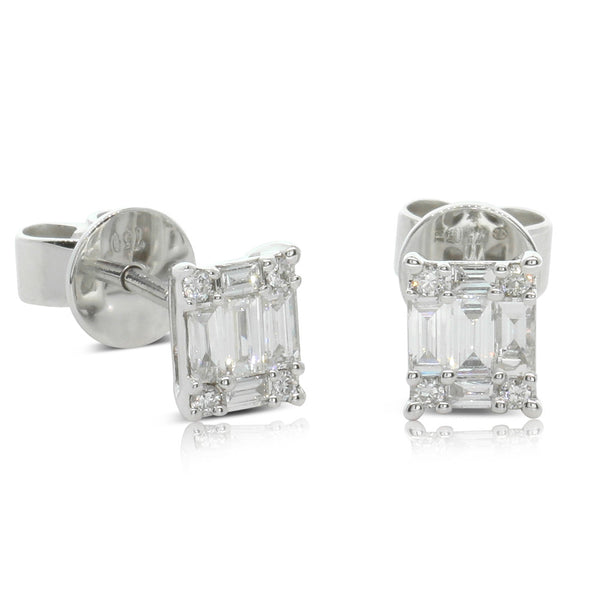 18ct White Gold .36ct Diamond Cluster Studs - Walker & Hall