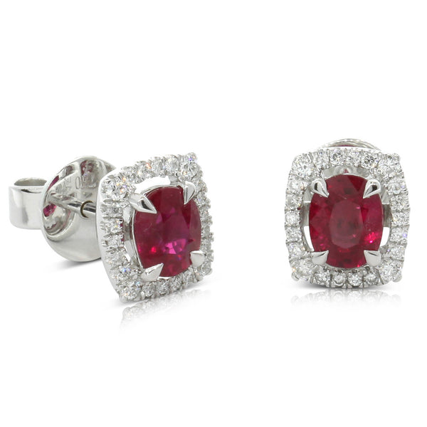 18ct White Gold Ruby & Diamond Stud Earrings - Walker & Hall