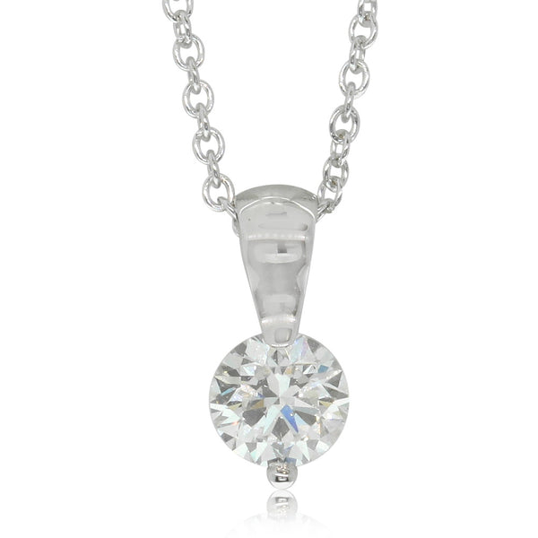 18ct White Gold .54ct Diamond Solitaire Pendant - Walker & Hall