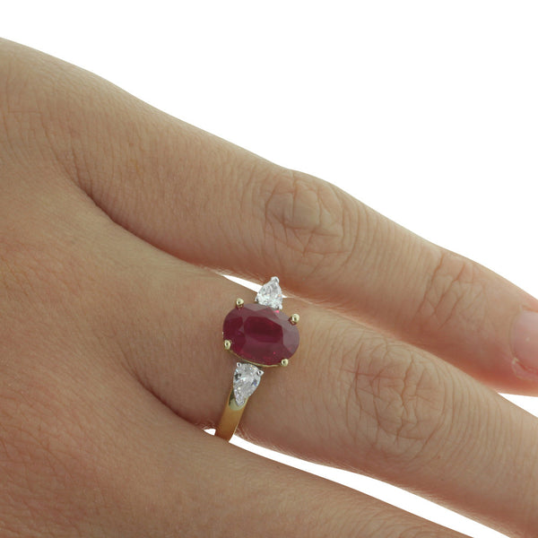 18ct Yellow Gold Ruby & Diamond Ring - Walker & Hall