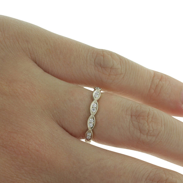 18ct White Gold .16ct Diamond Band - Walker & Hall