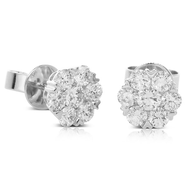 18ct White Gold 1.14ct Diamond Cluster Earrings - Walker & Hall