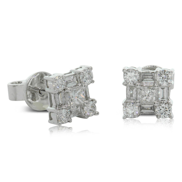 18ct White Gold .75ct Diamond Cluster Studs - Walker & Hall