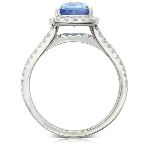18ct White Gold 3.16ct Sapphire & Diamond Halo Ring - Walker & Hall