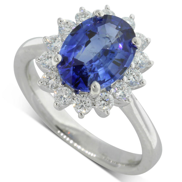 18ct White Gold 2.74ct Sapphire & Diamond Ring - Walker & Hall