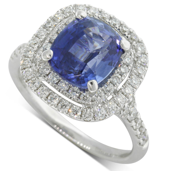 18ct White Gold 3.66ct Sapphire & Diamond Ring - Walker & Hall