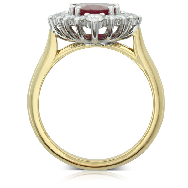 18ct Yellow & 18ct White Gold Ruby & Diamond Ring - Walker & Hall