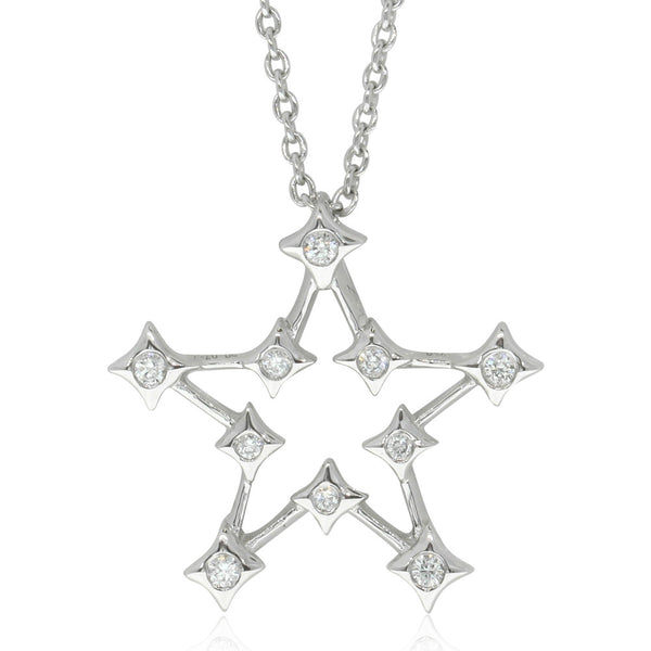 18ct White Gold Diamond Star Pendant - Walker & Hall