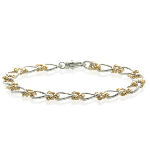 Sterling Silver & 9ct Yellow Gold Celtic Weave Bracelet - Walker & Hall