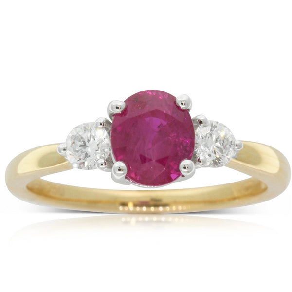 18ct Yellow Gold 1.58ct Ruby & Diamond Ring