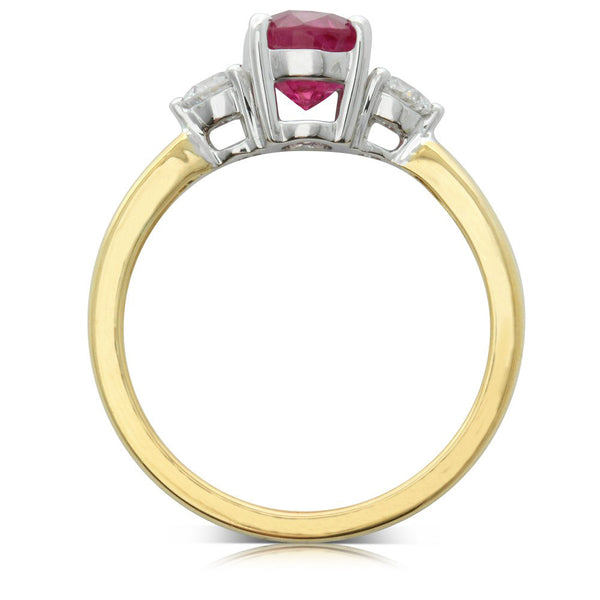 18ct Yellow Gold 1.58ct Ruby & Diamond Ring - Walker & Hall