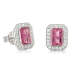 18ct White Gold 1.77ct Pink Tourmaline & Diamond Earrings - Walker & Hall