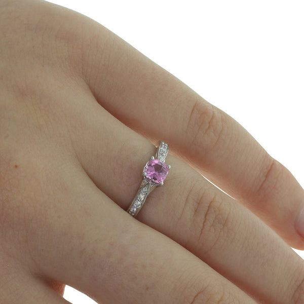 18ct White Gold Pink Sapphire & Diamond Ring - Walker & Hall