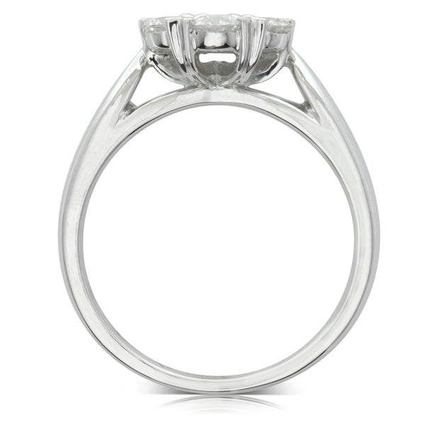 18ct White Gold 1.01ct Diamond Lotus Ring - Walker & Hall