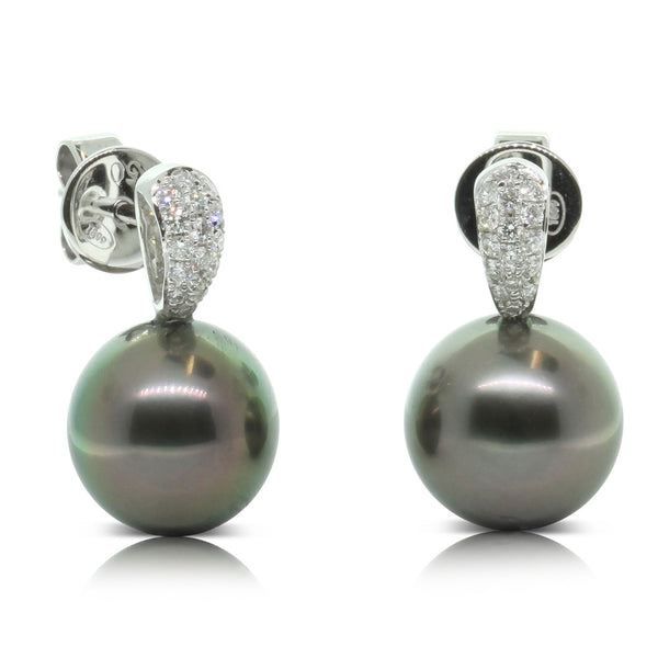 18ct White Gold Cultured Black Pearl & Diamond Earrings - Walker & Hall