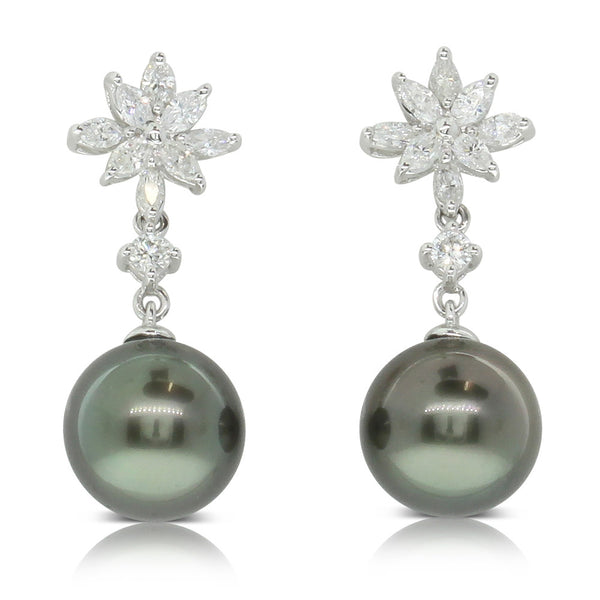 18ct White Gold Tahitian Black Cultured Pearl & Diamond Earrings - Walker & Hall