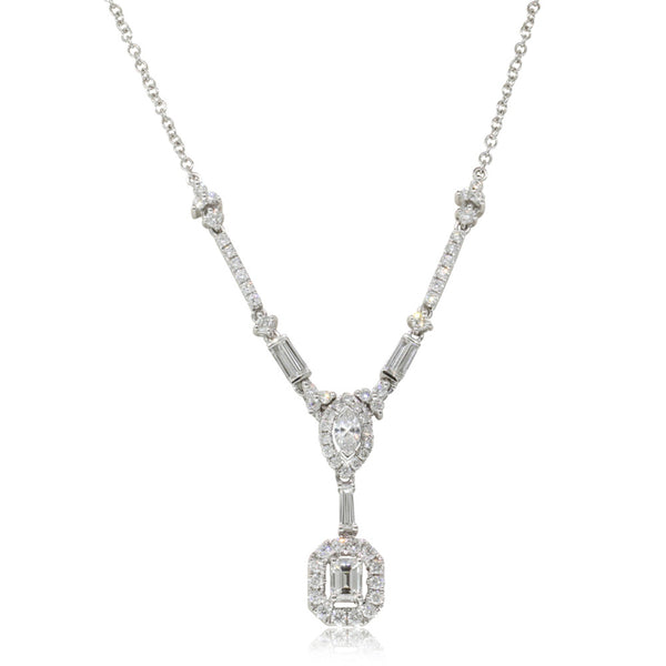 18ct White Gold 1.61ct Diamond Necklace - Walker & Hall