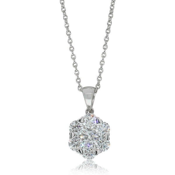 18ct White Gold .99ct Diamond Cluster Pendant - Walker & Hall
