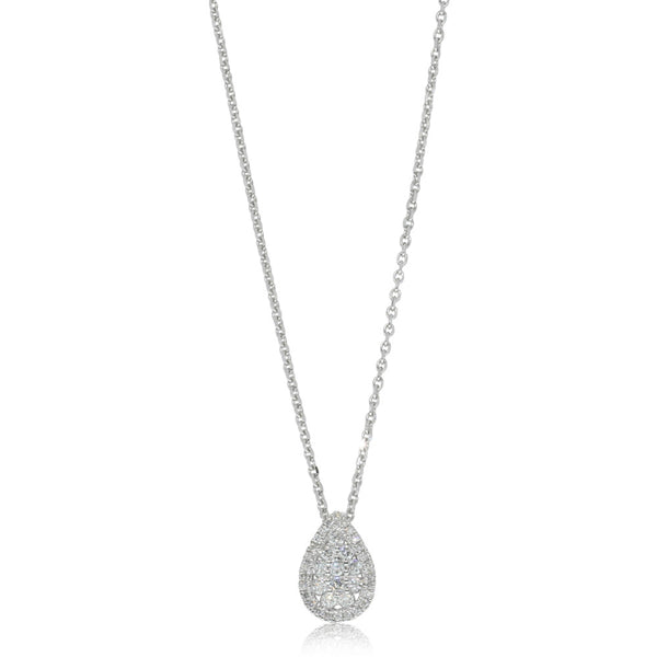 9ct White Gold .23ct Diamond Drop Pendant - Walker & Hall