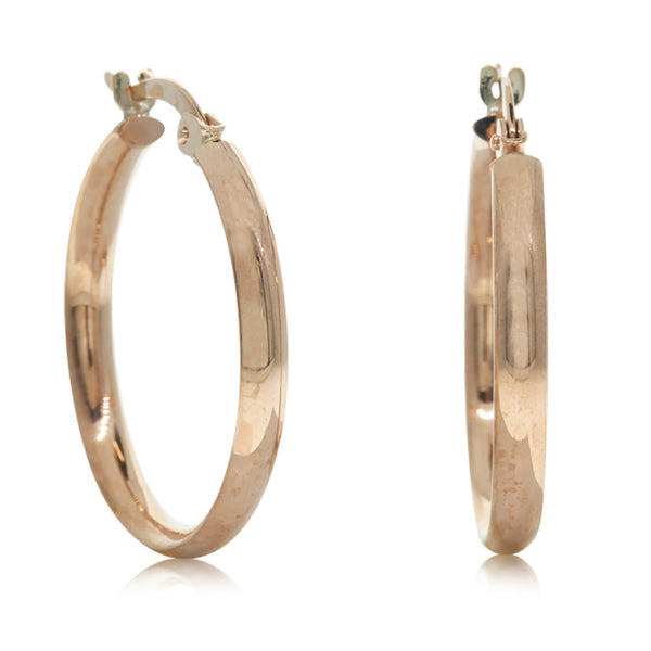 9ct Rose Gold Hoop Earrings - Walker & Hall