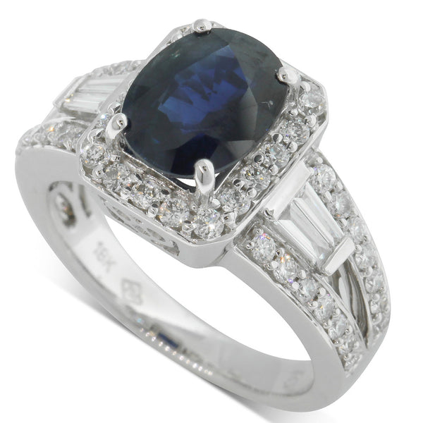 18ct White Gold 2.56ct Sapphire & Diamond Ring - Walker & Hall