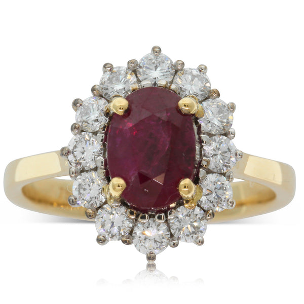 18ct Yellow & 18ct White Gold 2.05ct Ruby & Diamond Ring - Walker & Hall