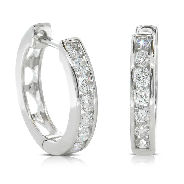 18ct White Gold .50ct Diamond Tigris Hoop Earrings - Walker & Hall