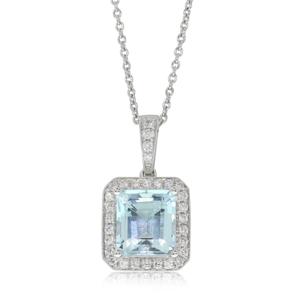 18ct White Gold 2.40ct Aquamarine & Diamond Pendant - Walker & Hall