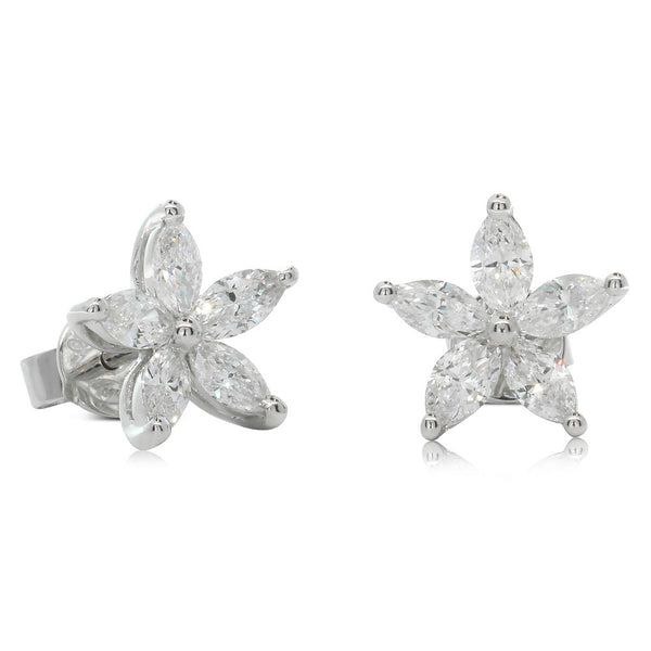 18ct White Gold Marquise Cut Diamond Earrings - Walker & Hall