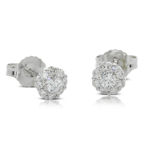 9ct White Gold .30ct Diamond Cluster Earrings - Walker & Hall