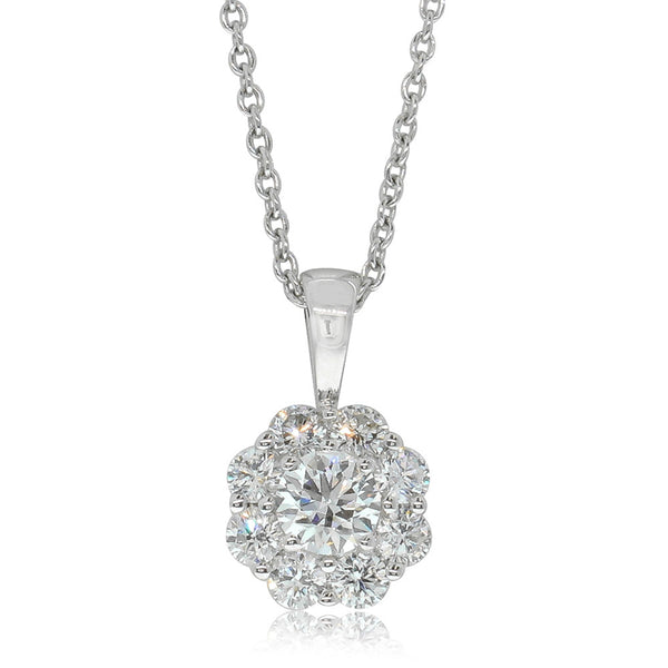 9ct White Gold .32ct Diamond Cluster Pendant - Walker & Hall