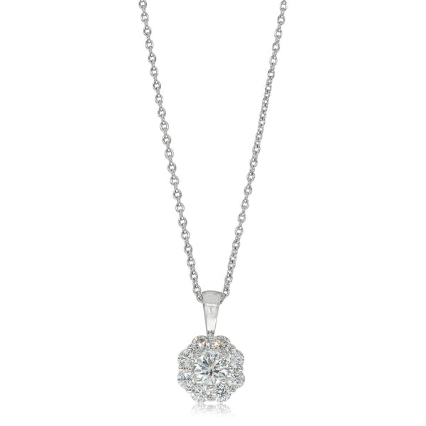9ct White Gold .32ct Diamond Cluster Pendant