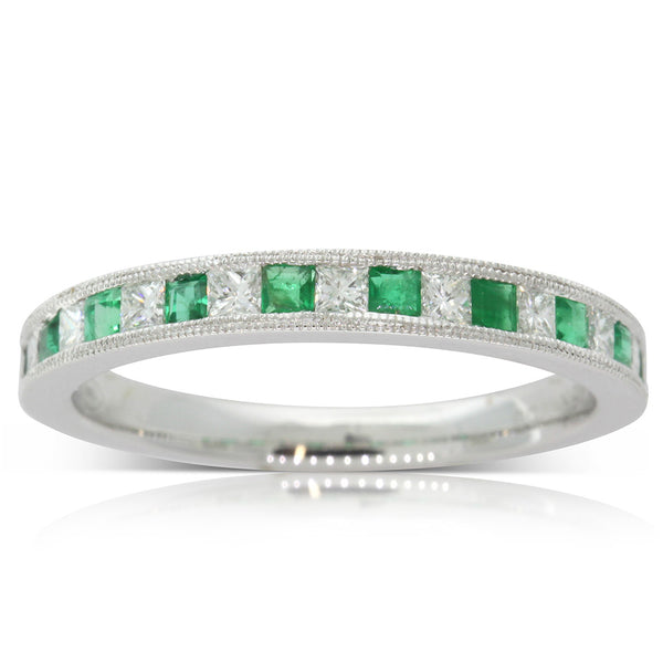 18ct White Gold Emerald And Diamond Band - Walker & Hall