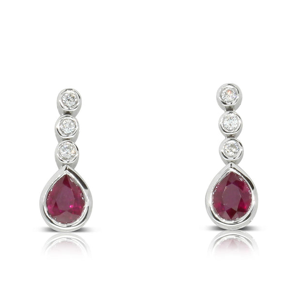 18ct White Gold Ruby & Diamond Drop Earrings - Walker & Hall